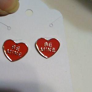 Nwot Red Heart Shaped Earrings
